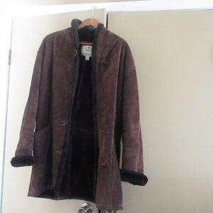 Dark Brown Suede Woman's Coat--Size Medium